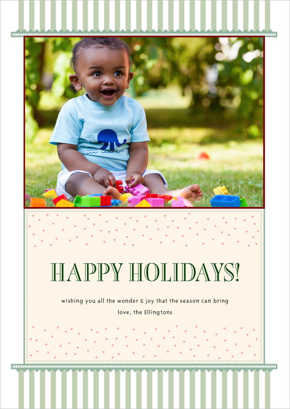 holiday cards - sage - candystripes (set of 10)