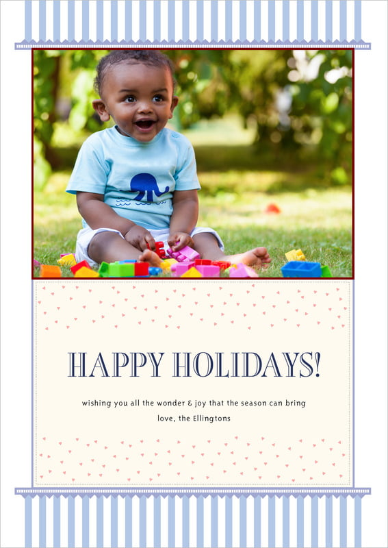 holiday cards - periwinkle - candystripes (set of 10)