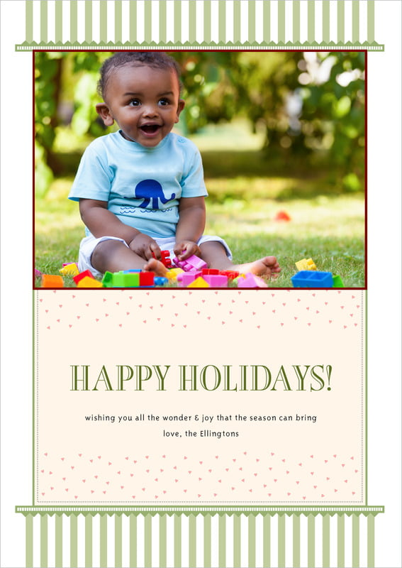 holiday cards - green tea - candystripes (set of 10)