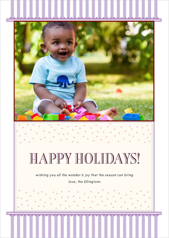 holiday cards - lilac - candystripes (set of 10)