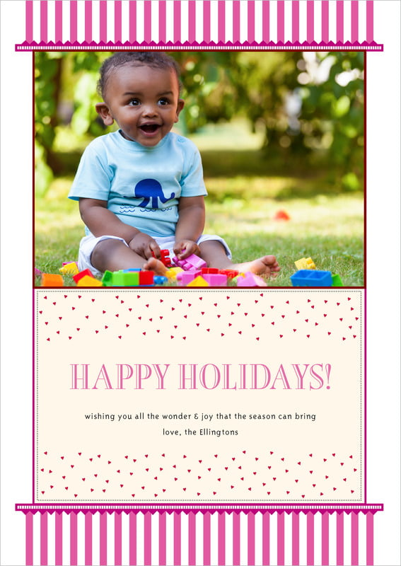 holiday cards - bright pink - candystripes (set of 10)