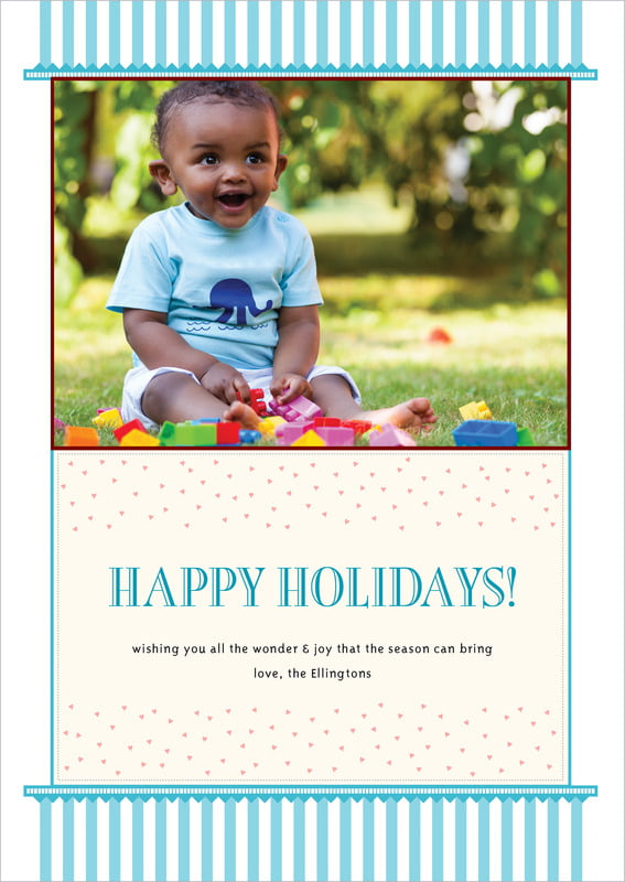 holiday cards - bahama blue - candystripes (set of 10)