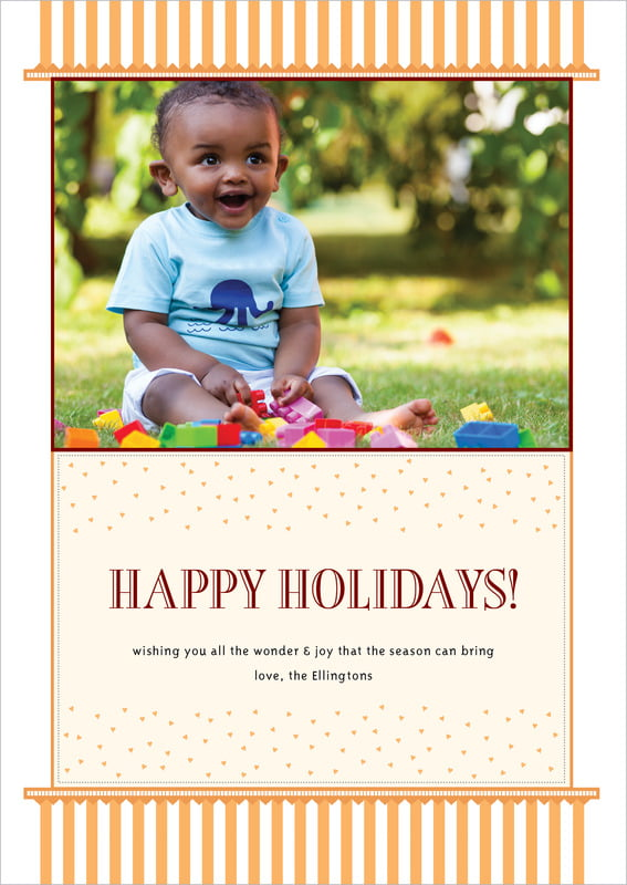 holiday cards - tangerine - candystripes (set of 10)