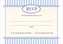 custom response cards - periwinkle - candystripes (set of 10)