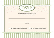 custom response cards - green tea - candystripes (set of 10)