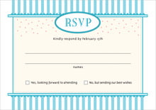 custom response cards - bahama blue - candystripes (set of 10)