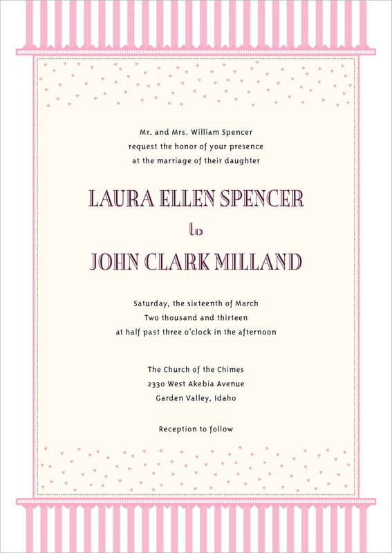 custom invitations - pale pink - candystripes (set of 10)