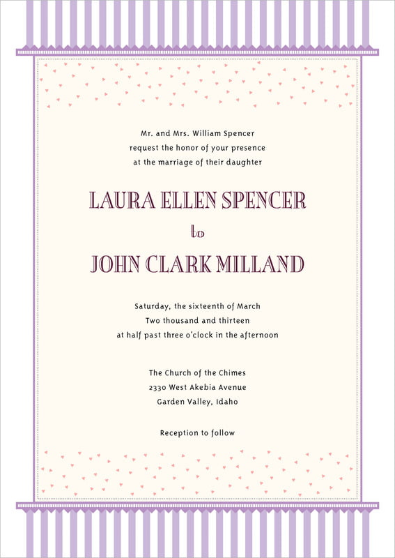 custom invitations - lilac - candystripes (set of 10)