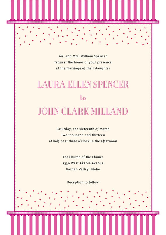 custom invitations - bright pink - candystripes (set of 10)