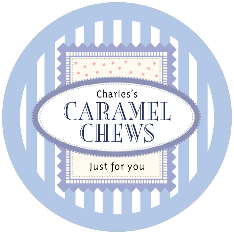 circle food/craft labels - periwinkle - candystripes (set of 12)
