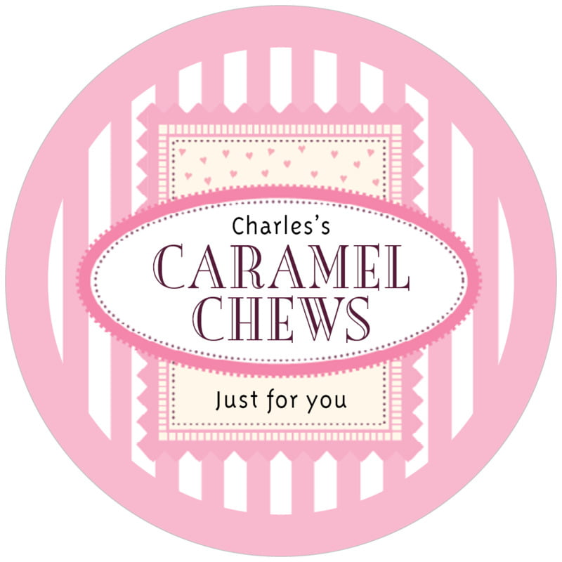 circle food/craft labels - pale pink - candystripes (set of 12)