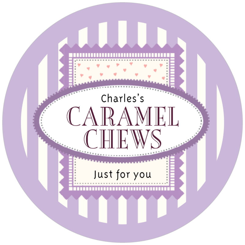 circle food/craft labels - lilac - candystripes (set of 12)