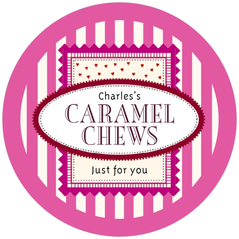 circle food/craft labels - bright pink - candystripes (set of 12)
