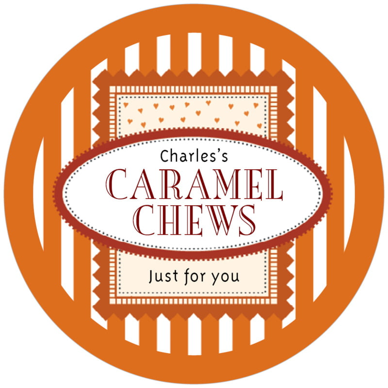 circle food/craft labels - spice - candystripes (set of 12)