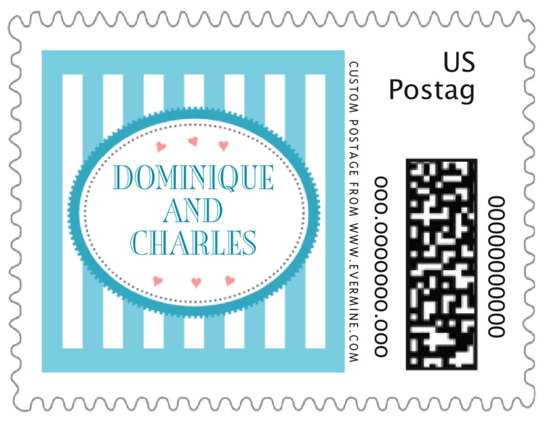 small custom postage stamps - bahama blue - candystripes (set of 20)