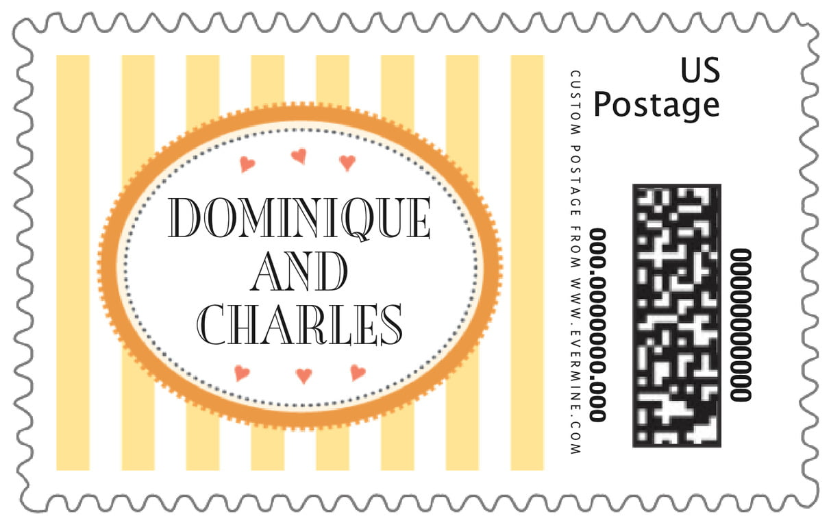 custom large postage stamps - sunburst - candystripes (set of 20)