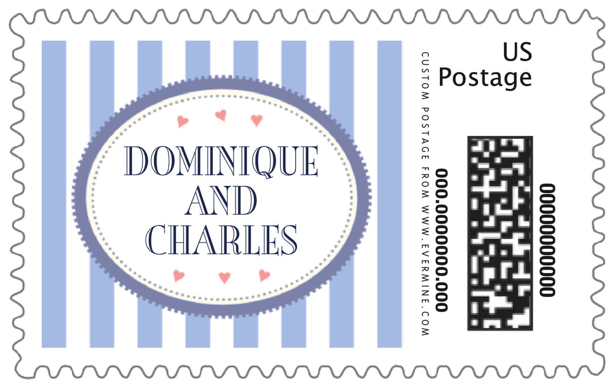custom large postage stamps - periwinkle - candystripes (set of 20)