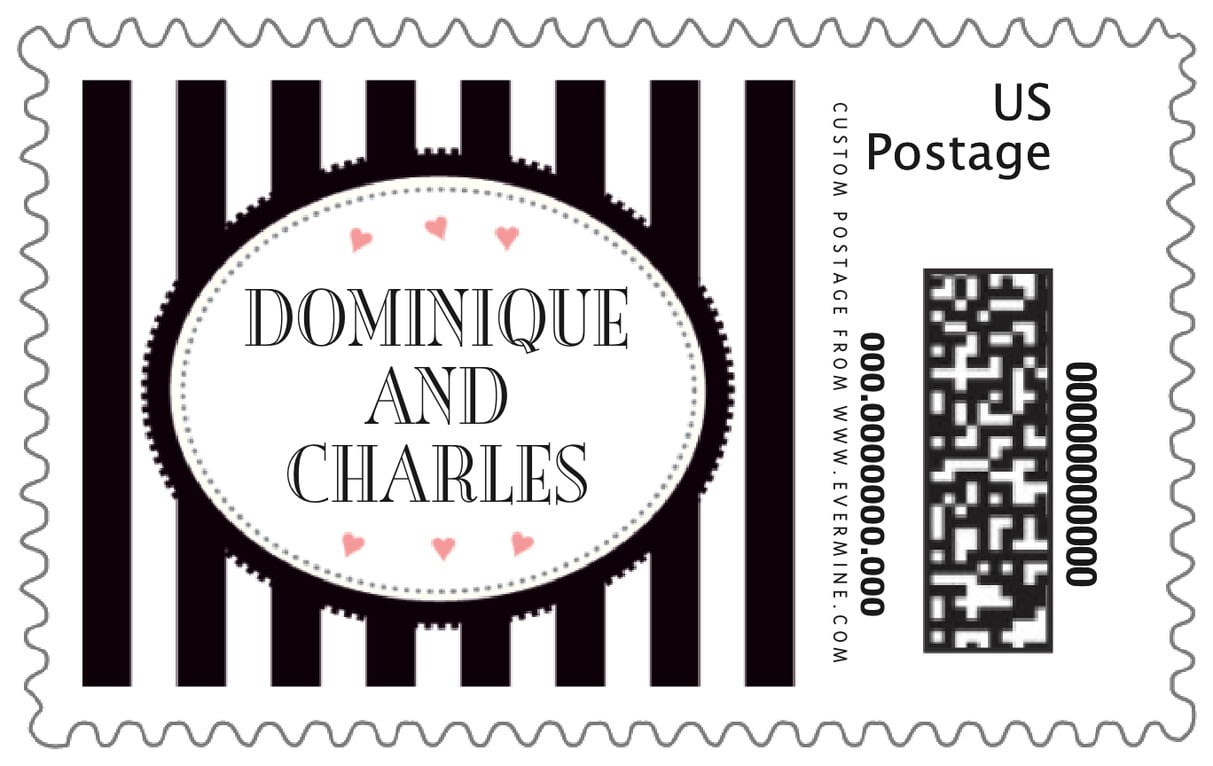 custom large postage stamps - tuxedo - candystripes (set of 20)