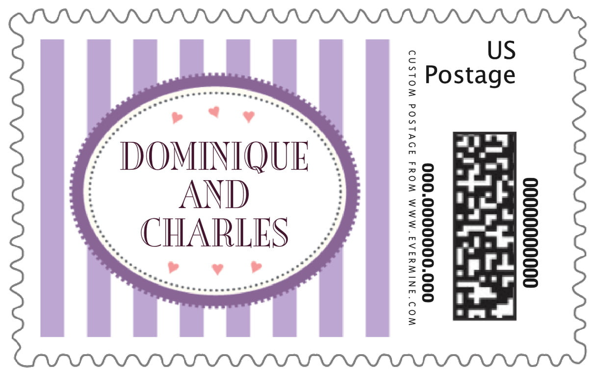 custom large postage stamps - lilac - candystripes (set of 20)