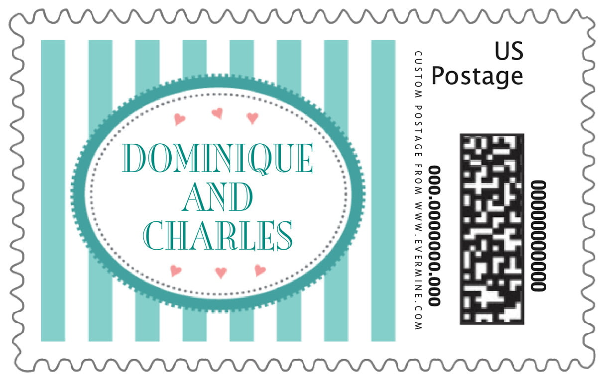 custom large postage stamps - aruba - candystripes (set of 20)