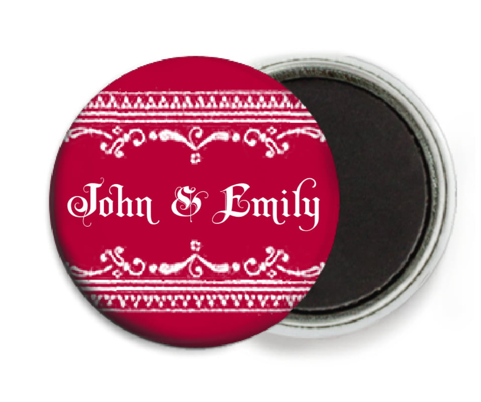custom button magnets - deep red - casablanca (set of 6)