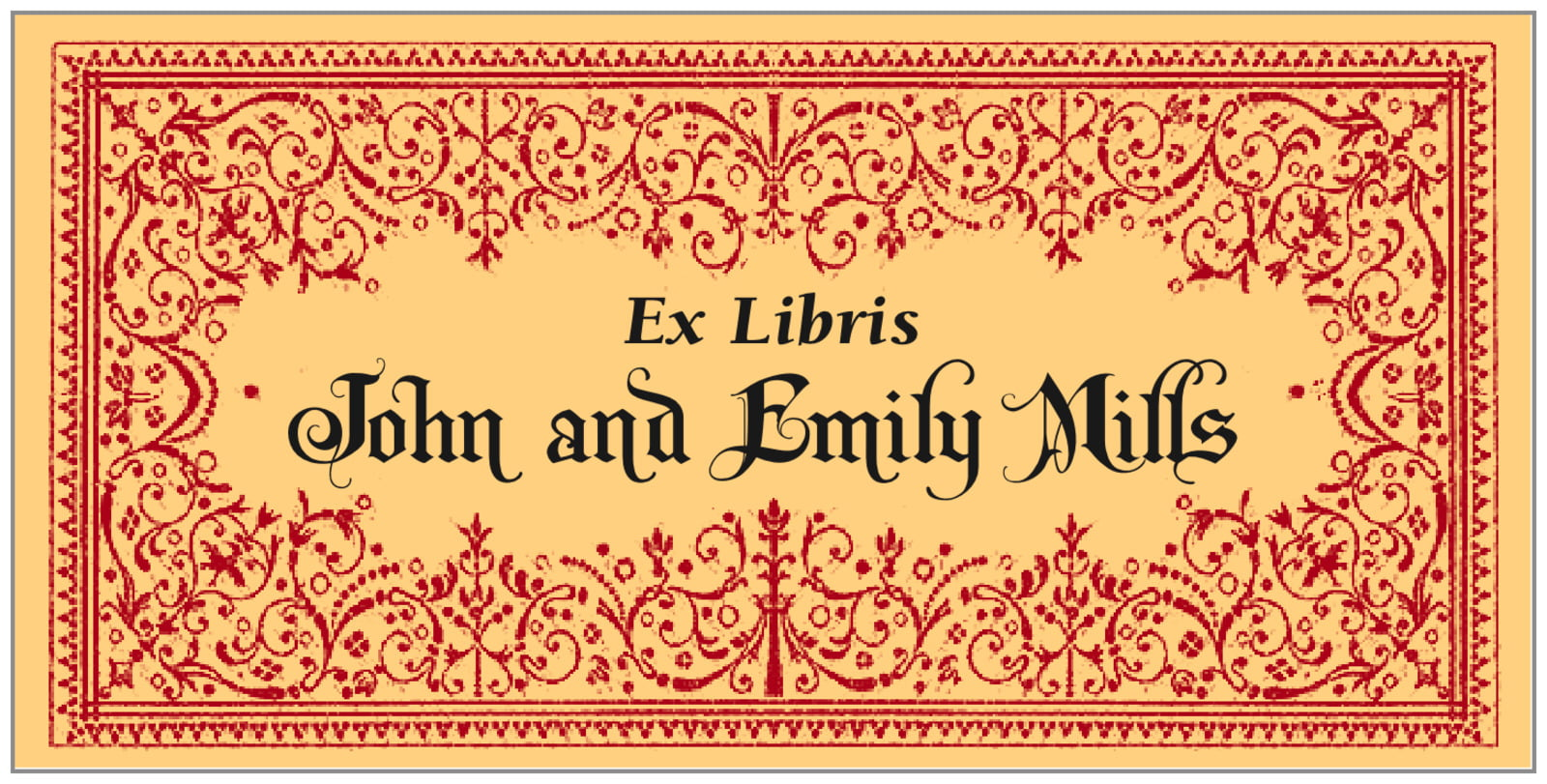 bookplates for everyone - gold & red - casablanca (set of 24)