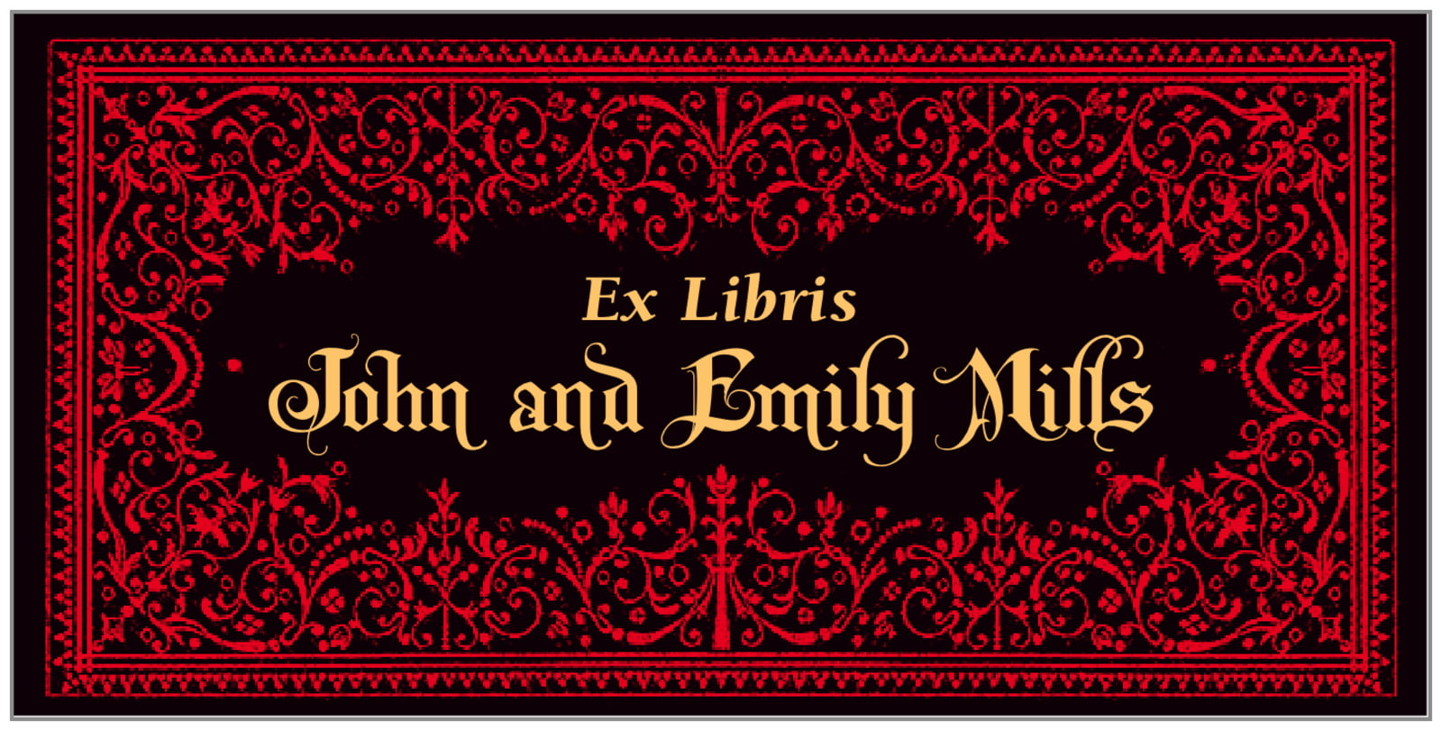 bookplates for everyone - black & red - casablanca (set of 24)