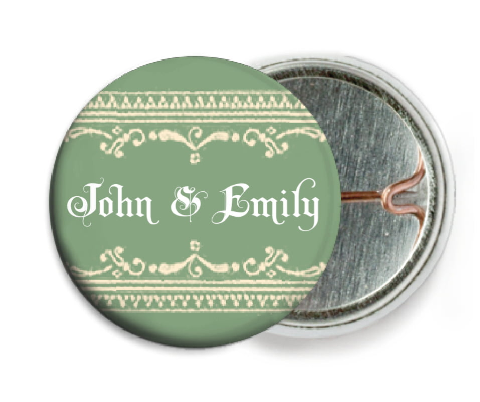 custom pin back buttons - sage - casablanca (set of 6)
