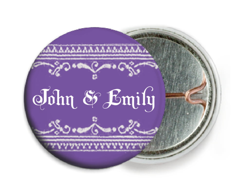custom pin back buttons - lilac - casablanca (set of 6)