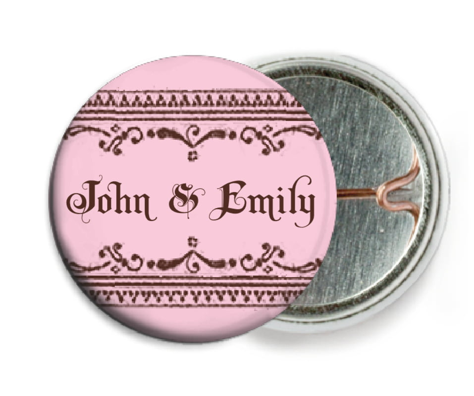 custom pin back buttons - cocoa & pink - casablanca (set of 6)