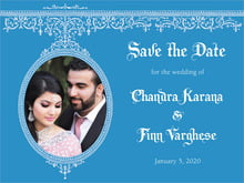 custom save-the-date cards - blue - casablanca (set of 10)