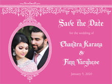 custom save-the-date cards - bright pink - casablanca (set of 10)