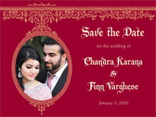 custom save-the-date cards - red & gold - casablanca (set of 10)