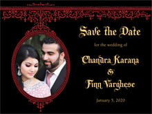 custom save-the-date cards - black & red - casablanca (set of 10)