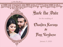 custom save-the-date cards - cocoa & pink - casablanca (set of 10)