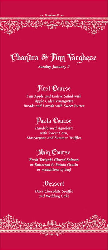 custom menus - deep red - casablanca (set of 10)