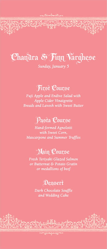 custom menus - grapefruit - casablanca (set of 10)