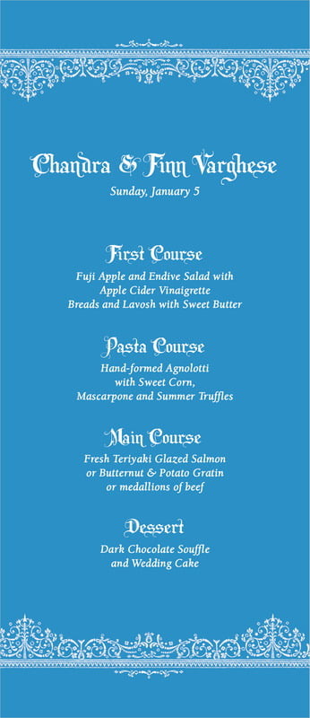 custom menus - blue - casablanca (set of 10)