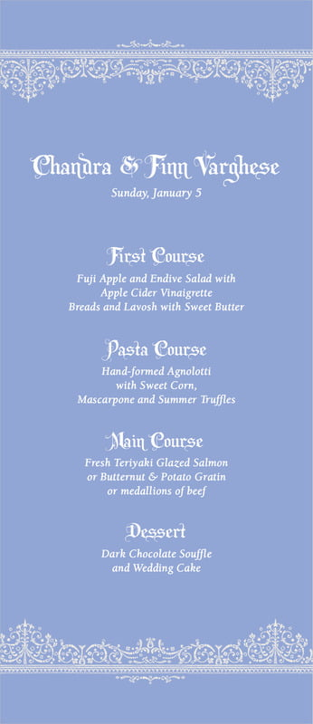 custom menus - periwinkle - casablanca (set of 10)