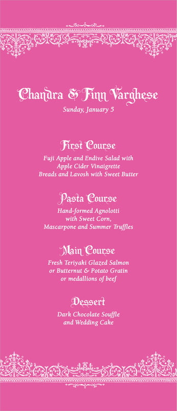 custom menus - bright pink - casablanca (set of 10)
