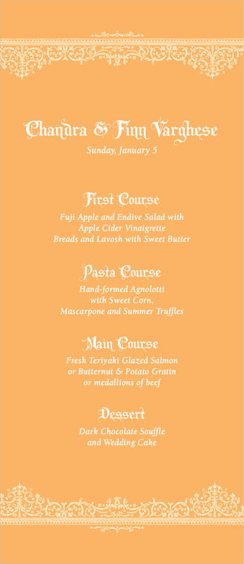 custom menus - tangerine - casablanca (set of 10)