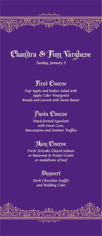 custom menus - plum - casablanca (set of 10)