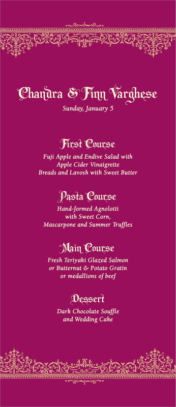 custom menus - burgundy - casablanca (set of 10)