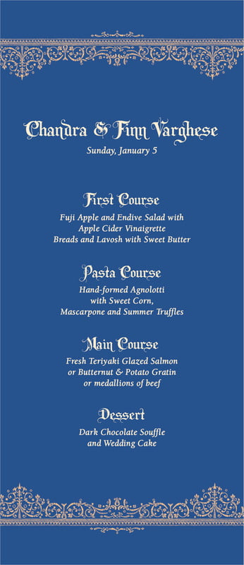 custom menus - deep blue - casablanca (set of 10)