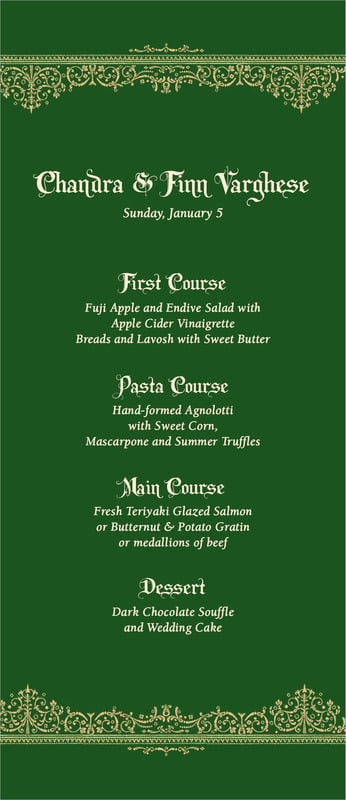 custom menus - deep green - casablanca (set of 10)
