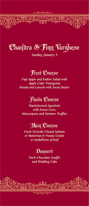 custom menus - red & gold - casablanca (set of 10)