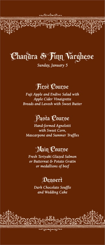 custom menus - chocolate - casablanca (set of 10)