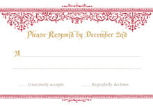 custom response cards - red & gold - casablanca (set of 10)