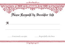 custom response cards - black & red - casablanca (set of 10)