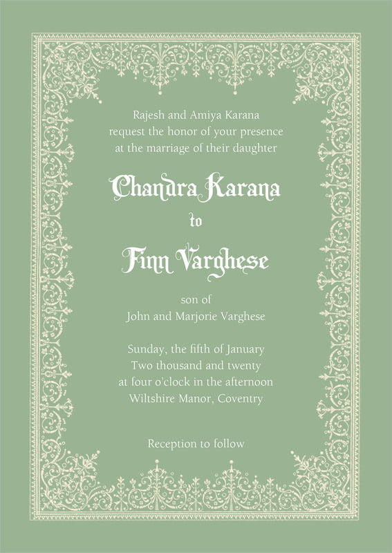 custom invitations - sage - casablanca (set of 10)